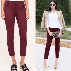 Anthropologie NWOT Essential Slim Burgundy Pants 2